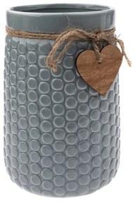 Keramická váza Heart, sivá, 12 x 17,5 x 16,5 cm