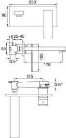STEINBERG - Podomietková umývadlová batéria 2-otvorová vrátane mosadzného telesa, chróm (160 1852)