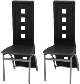 Jedálenské stoličky, 2 ks, umelá koža, čierne