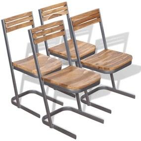 vidaXL Jedálenské stoličky, 4 ks, masívne teakové drevo