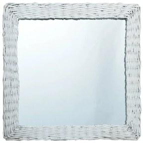 vidaXL Zrkadlo, biele 60x60 cm, prútie
