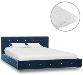 vidaXL Posteľ s matracom modrá 120x200 cm zamatová