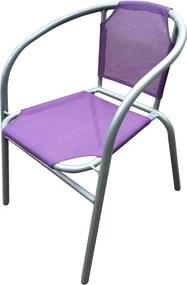 HAPPY GREEN Oceľové kresielko textilen - fialové