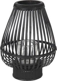 Čierna drevená lampáš Cotilde - Ø 27 * 36 cm