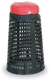 Artplast Plastový odpadkový kôš na 120 L vrecia, čierny, červený vrchnák