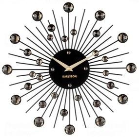 Nástenné hodiny z krištáľov čiernej farby Karlsson Sunburst