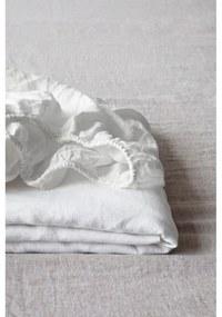 Biela ľanová elastická plachta Linen Tales, 180 x 200 cm
