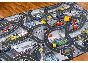 Detský koberec 100x200 cm CARS šedý