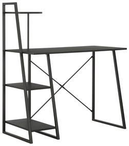 vidaXL Písací stôl s policami, čierny 102x50x117 cm