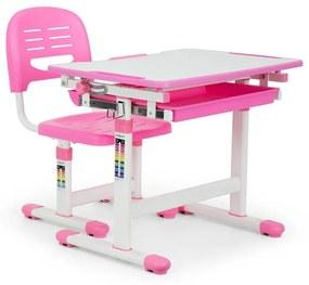Annika detský písací stôl, dvojdielna sada, stôl, stolička, výškovo nastaviteľné, ružová