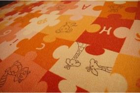 Detský koberec PUZZLE oranžový - 80x100 cm