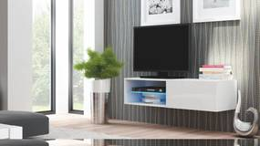 HALMAR Livo 120W tv stolík na stenu biela / biely lesk