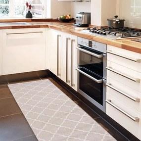 Vysokoodolný kuchynský koberec Webtappeti Lattice Sand, 60 × 150 cm
