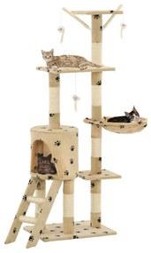 vidaXL Škrabadlo pre mačky so sisalovými stĺpikmi 138cm béžové s labkami