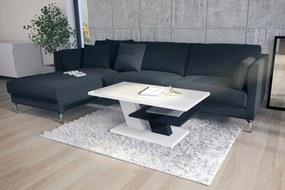PRESTIGE CLIFF biely lesk + čierny, konferenčný stolík, čiernobiely
