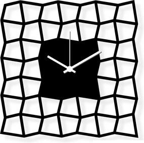 Dizajnové nástenné hodiny: NeoKubist - Čierne plexi 28x28 cm | atelierDSGN