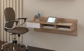 MEBLOCROSS Uno pc stolík na stenu sonoma svetlá / biela