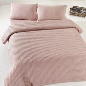 Béžovoružová ľahká bavlnená prikrývka cez posteľ Dusty Rose Pique, 200 x 240 cm