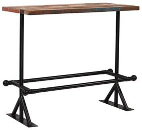 vidaXL Barový stôl, masívne recyklované drevo, viacfarebný, 120x60x107 cm