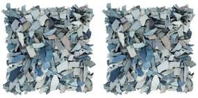 vidaXL Vankúše so strapcami 2 ks džínsové modré 45x45 cm koža a bavlna