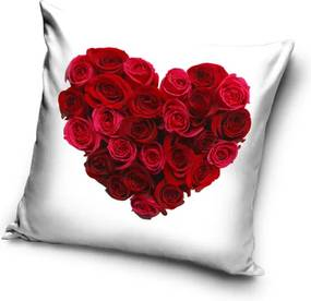 Tiptrade Vankúšik Srdce z ruží biela, 40 x 40 cm