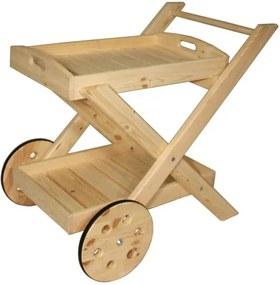 Skladací servírovací vozík - bez povrchovej úpravy