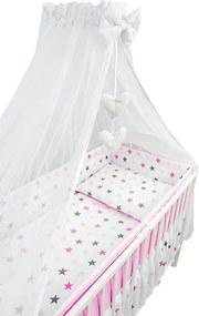 6-dielne Hviezdičky ružové, obliečky do postieľky, Ankras - Rozmer 120x90x360