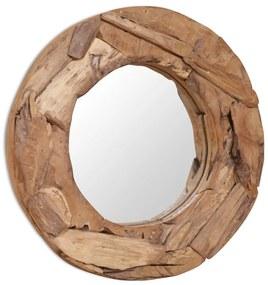 vidaXL Dekoratívne zrkadlo z teakového dreva, 60 cm, okrúhle