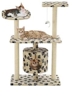vidaXL Škrabadlo pre mačky so sisalovými stĺpikmi 95cm béžové s labkami