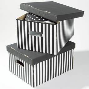 Sada 2 sivých úložných škatúľ Compactor Stripes