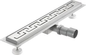 [neu.haus]® Nerezový podlahový žľab – moderný odtok do sprchy - grécky vzor - (60x7cm)