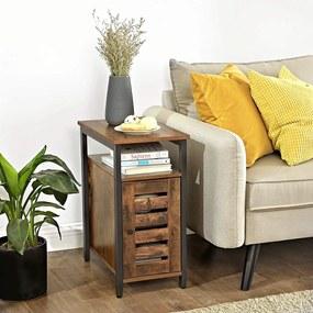 VASAGLE Nočný stolík s policou industriálny hnedý 30 x 50 cm