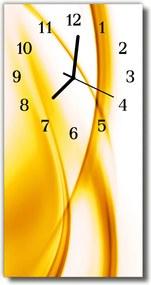 Sklenené hodiny vertikálne  Wave umenie žltých čiar