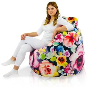 Sedací vak BAG Sako Design Kvety - L