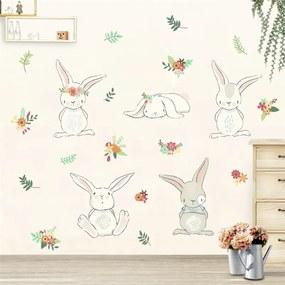Veselá Stena Samolepka na stenu na stenu Hravé králiky