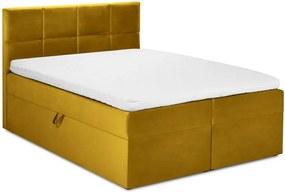 Horčicovožltá zamatová dvojlôžková posteľ Mazzini Beds Mimicry, 200 x 200 cm