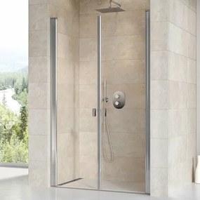 Sprchové dvere Ravak Chrome dvojkrídlové 110 cm, sklo číre, chróm profil 0QVDCC0LZ1