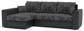 Rohová rozkládací sedací souprava PAUL látka v kombinaci s eko-kůží Tmavo šedá/čierna eko-koža