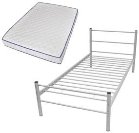 Kovová jednolôžková posteľ s matracom pamäťovou penou, sivá, 90x200 cm