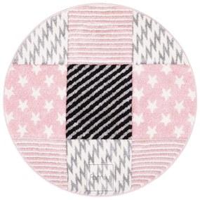 DomTextilu Vzorovaný ružový okrúhly koberec do detskej izby 41723-197009