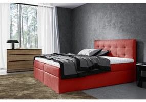 Moderné čalúnené jednolôžko Riki s úložným priestorom červená 140 x 200 + topper zdarma