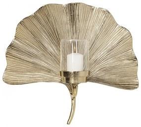 KARE DESIGN Sada 2 ks Svietnik na čajovú sviečku na stenu Ginkgo Leaf 45 cm