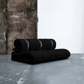 Variabilná pohovka s bielo prešívanými koženými popruhmi Karup Buckle Up Black