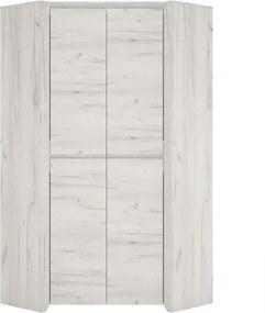 TEMPO KONDELA Angel Typ 21 2D rohová šatníková skriňa biela / craft
