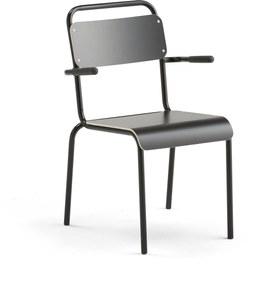 Jedálenská stolička Frisco, s podrúčkami, čierny rám, čierny laminát