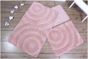 Set 3 ružových kúpeľňových predložiek Adriana
