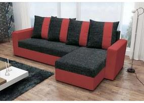 Rohová sedačka ANGELIKA, čierna + červená
