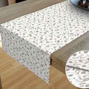 Goldea bavlnený behúň na stôl - vzor kvietky na bielom 20x120 cm