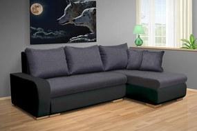 Nabytekmorava Rozkladacia sedacia súprava Fokus farba eko kože: eko čierna 1100, farba vankúšov: farba sedáku, farba sedáku: Savana sivá 05