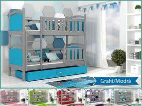 Tami Grafit Color poschodová posteľ 180x80